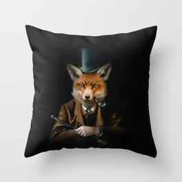 Victorian Fox In Top Hat Throw Pillow