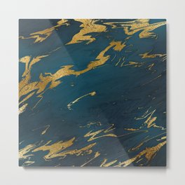 Teal Gold Marble Metal Print