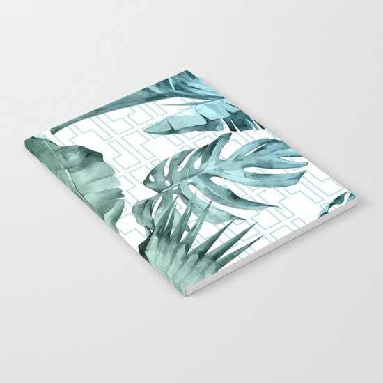 Mod Tropical Palm Leaves in Turquoise Green Blue Gradient by followmeinstead
