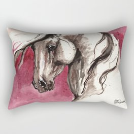 Andalusian horse on red background Rectangular Pillow