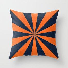 navy and orange starburst Throw Pillow