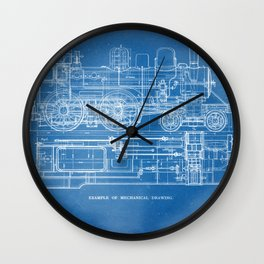 Steam Train Diagram - Blueprint Style Wall Clock