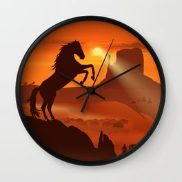 Freedom for the black stallion Wall Clock