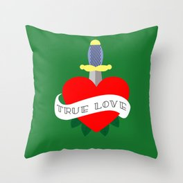 Red heart old school Throw Pillow