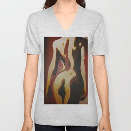 Back View Of A Nude Woman Unisex V-Neck