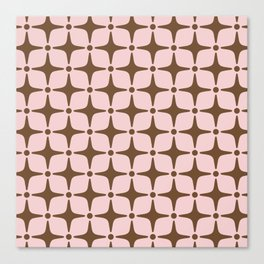Mid Century Modern Star Pattern Pink and Brown Canvas Print