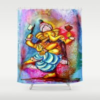 ganesha Shower Curtains featuring Ganesha by Watercolor & Photography by Rita