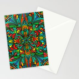 Green red orange pattern Stationery Cards