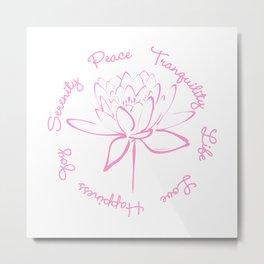 Lotus Calligraphy Text (Pink) Metal Print