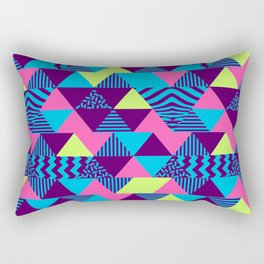 Vintage Retro 1980s 80s Nights New Wave Triangular Print Rectangular Pillow