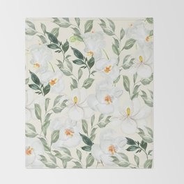 Magnolia and Orchid Blossoms Watercolor Throw Blanket