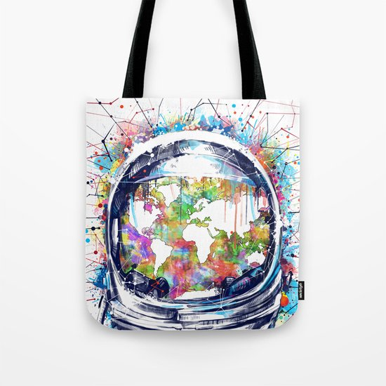 astronaut world map colorful Tote Bag