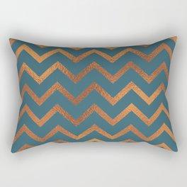 Teal & Rose Gold Chevron Rectangular Pillow