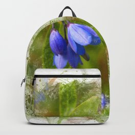 Pretty bluebells on white Backpack