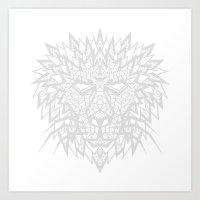 Heart of a Lion - Gray Art Print