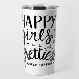 Audrey Hepburn - Happy Girls are the prettiest Travel Mug