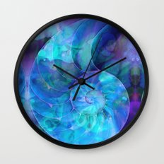 Blue Nautilus Shell  - Seashell Art By Sharon Cummings Wall Clock