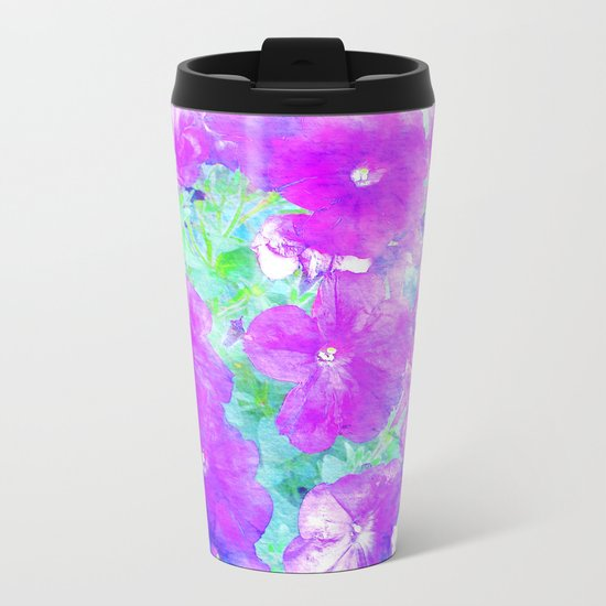 Watercolor Petunias Metal Travel Mug