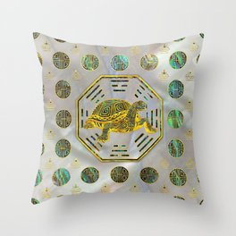 Golden Tortoise / Turtle Feng Shui Abalone Shell Throw Pillow