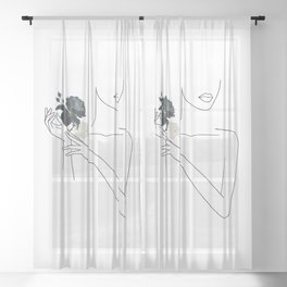Minimal Line Art Woman with Flowers I Sheer Curtain