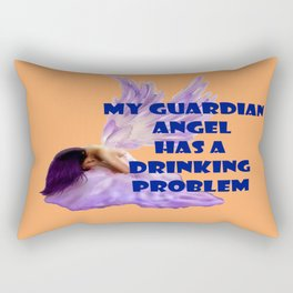 My Guardian Angel has a Drinking Problem Rectangular Pillow