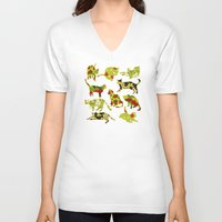 kitchen V-neck T-shirts featuring Kitchen Cats by Marlene Pixley