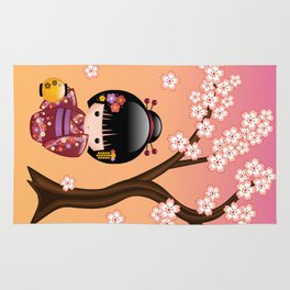 Japanese Sakura Kokeshi Doll Rug