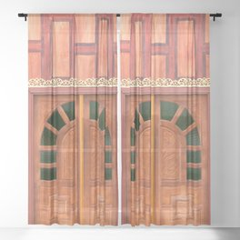 Red Thai Temple Doors Sheer Curtain