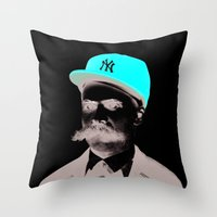 nietzsche Throw Pillows featuring Get nietzsche or die tryin' by Carlos Paboudjian