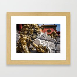 Forbidden City Bronze Lions Framed Art Print