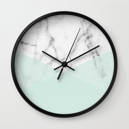 Real White Marble Half Mint Green Shapes Wall Clock