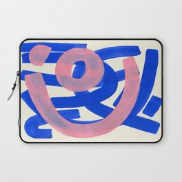 Tribal Pink Blue Fun Colorful Mid Century Modern Abstract Painting Shapes Pattern Laptop Sleeve