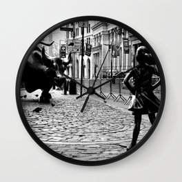 Fearless Girl and the Charging Bull Wall Clock