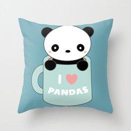 Kawaii I Love Pandas Throw Pillow