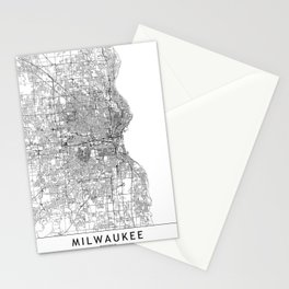 Milwaukee White Map Stationery Cards