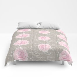 Watercolor roses on Taupe with French script Comforters