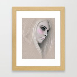 Cara Fashion Illustration Portrait Framed Art Print