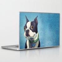 terrier Laptop & iPad Skins featuring Boston Terrier by Jackie Sullivan