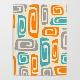 Mid Century Modern Cosmic Abstract 740 Orange Blue and Gray Poster