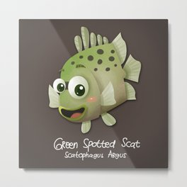 Green Spotted Scat Fish Metal Print