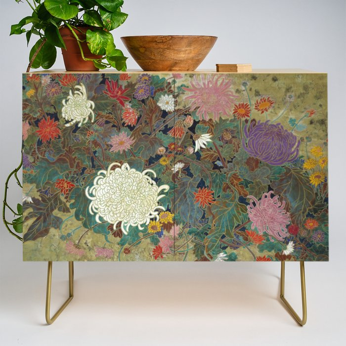 flower【Japanese painting】 Credenza