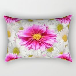 PINK DAHLIAS WHITE DAISIES FLORALS Rectangular Pillow