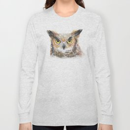 Owl Great Horned Owl Watercolor Long Sleeve T-shirt