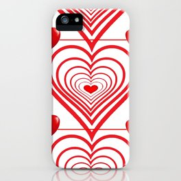 ABSTRACT PATTERN OF RED-WHITE VALENTINE HEARTS iPhone Case