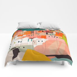italy coast houses minimal abstract painting Comforters