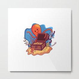 Illustration Treasure Box Sea With Octopus Metal Print