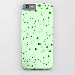 A lot of green drops and petals on a grassy background in mother of pearl. iPhone Case