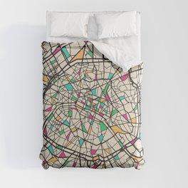 Colorful City Maps: Paris, France Comforters