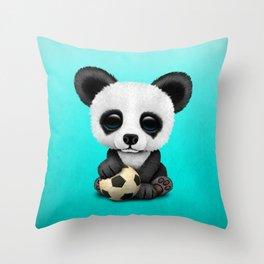 Cute Baby Panda With Football Soccer Ball Throw Pillow