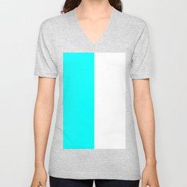 White and Aqua Cyan Vertical Halves Unisex V-Neck